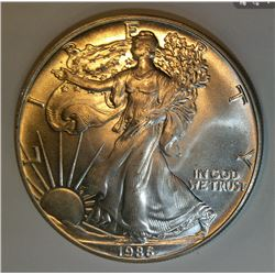 1986 American Silver Eagle (Brilliant Uncirculated) First Year of Issue, Excellent Date