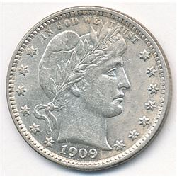 1909-D Barber 25 Cent Coin Choice AU58+ Flashy & Beautiful