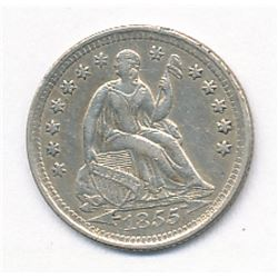 Liberty Seated Half Dime 1855 with Arrows Superb AU