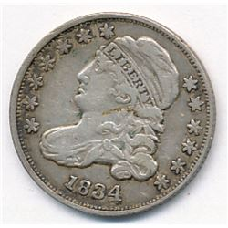 1834 Capped Bust Silver Dime RARE Extra Fine 45 Large 4 Variety