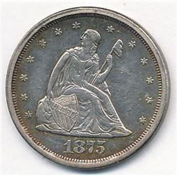 1875-S AU58 Twenty Cent Piece