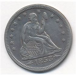 1853 with Arrows & Rays Liberty Seated Quarter Magnificent AU58++ Super Slider