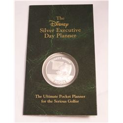 RARE PROOF DISNEY 1 OUNCE SILVER ROUND EXECUTIVE DAY PLANNER MICKEY MOUSE GOLF COIN
