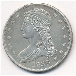 1838 Reeded Edge Half Dollar Capped Bust AU58 Super Slider