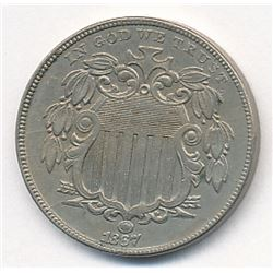 1867 Shield Nickel AU58++ Super Slider