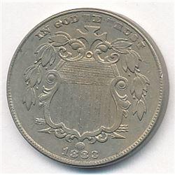 1883 Shield Nickel No Rays AU58