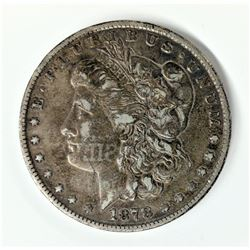 1878 7-Tail Feather Morgan Silver Dollar Reverse of 78 RARE Reverse Initials on the Face