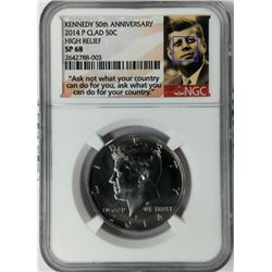 KENNEDY 50TH ANNIVERSARY 2014 P CLAD 50C HIGH RELIEF SP68 NGC