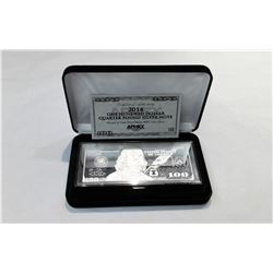 2014 SERIES $100 BENJAMIN FRANKLIN 4 OZ SILVER BAR WITH BOX AND CERTIFICATE OF AUTHENTICITY