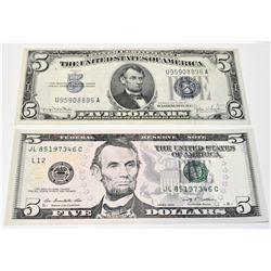 1934-D Blue Note Silver Certificate $5 S/N U95908896A & 2009 $5 Federal Reserve Note S/N JL85197346C