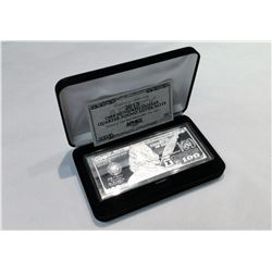 2013 SERIES $100 BENJAMIN FRANKLIN 4 OZ SILVER BAR WITH BOX AND CERTIFICATE OF AUTHENTICITY