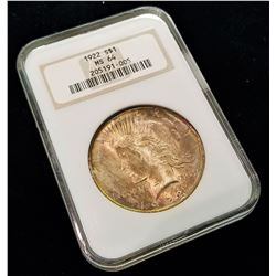 1922 S$1 MS64 NGC RARE RAINBOW TONED PEACE DOLLAR