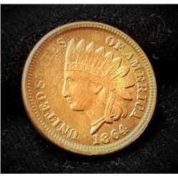 1864 Indian Head One Cent no L MS65 Red