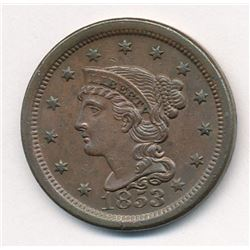 1853 Coronet Large Cent MS65 Brown