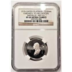 1976-Dated Platinum 25.6mm Farewell to His Officers Medallic Art CO. PF 64 Ultra Cameo NGC