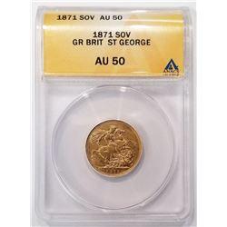 1871 SOV AU50 GR Brit ST Geaorge ANACS