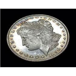 1896-P MS64 DMPL BULLSEYE TONING MORGAN SILVER DOLLAR