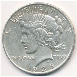 1935-S SAN FRANCISCO PEACE SILVER DOLLAR AU+ ALMOST UNCIRCULATED CONDITION
