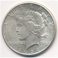 1924-S SAN FRANCISCO PEACE SILVER DOLLAR 63 GRADE QUALITY