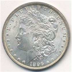 1896 MORGAN SILVER DOLLAR 64 GRADE QUALITY WITH SOME RAINBOW TONING ON THE REVERSE! BEAUTIFUL COIN!