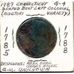 1787 CONNECTICUT COPPER DRAPED BUST LEFT COLONIAL G-4