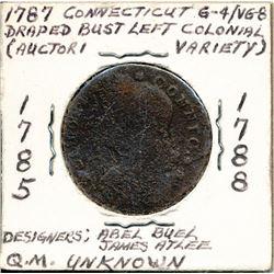 1787 CONNECTICUT COPPER DRAPED BUST LEFT COLONIAL G-4/ VG-8