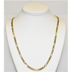 "Flat 14k Yellow Gold Figaro Chain 24"" Chain Necklace 4.6 grams"