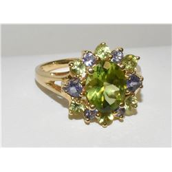 Magnificent 14k Yellow Gold Oval Green Sapphire ring with round diamond Halo Accent