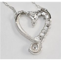 VERY NICE .925 STAMPED STERLING SILVER HEART NECKLACE AND RING SET