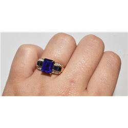 STAMPED 10K GOLD RING WITH BLUE STONES AND DIAMONDS