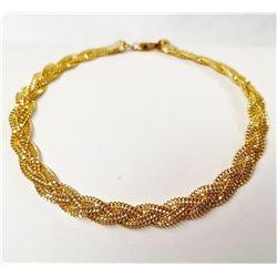 21k Yellow Gold, 7 inch Wheat Link Bracelet, 6.3 Grams