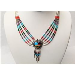 NATIVE INDIAN TRIBE HANDCRAFTED STERLING SILVER NECKLACE AND EARRING SET