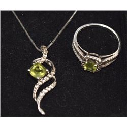 VERY NICE STAMPED .925 STERLING SILVER MATCHING NECKLACE AND RING WITH GREEN STONE AND DIAMONDS