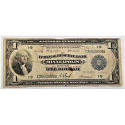 1914 federal reserve bank $1 note Minneapolis George Washington blue seal