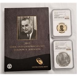 2015 Coin and Chronicles Set Lyndon B. Johnson PF 69 $1 and MS 69 Silver Medal