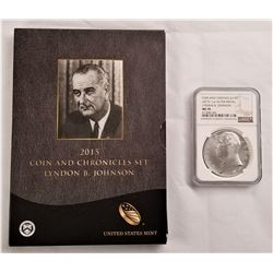 2015 Coin and Chronicles Set Lyndon B. Johnson and MS 70 Silver Medal