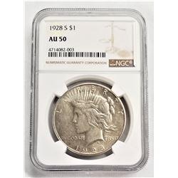 1928-S $1 AU Peace Dollar NGC