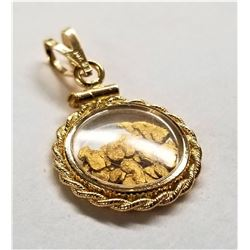 14kt Yellow Gold with 24kt Gold Flakes Pendant 16mm wide