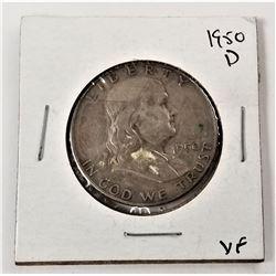 1950-D Benjamin Franklin Half Dollar VF