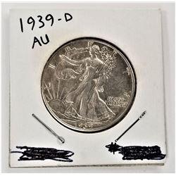 1939-D Walking Liberty Half Dollar AU