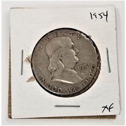 1954-P Benjamin Franklin Half Dollar XF