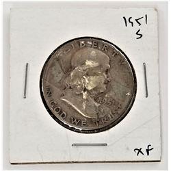 1951-S Benjamin Franklin Half Dollar XF