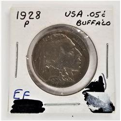 1928-P 5 cent Buffalo EF