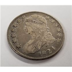 1824 Capped Bust Liberty Half Dollar 90% Silver