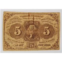 1862 Five Cents Fractional Currency