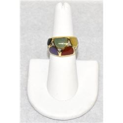 Stamped 585 - 14k gold colorful ring with diamonds Size 6, 6.1 grams