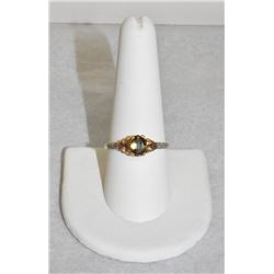 Stamped 14k Smoky Brown Quartz 3 Stone and Diamond Ring Size 9.5, 2.9 grams