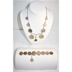"MATCHING COIN 18"" NECKLACE AND BRACELET SET"