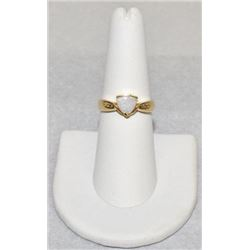 Stamped 14k Gold Ring with White Opal Stone and diamonds Size 7.25, 3.8 grams