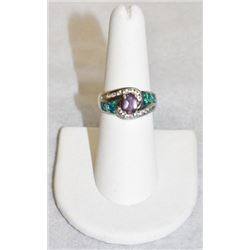 GORGEOUS STAMPED .925 STERLING SILVER RING WITH BLUE AND GREEN OPALS AND PURPLE CENTER STONE